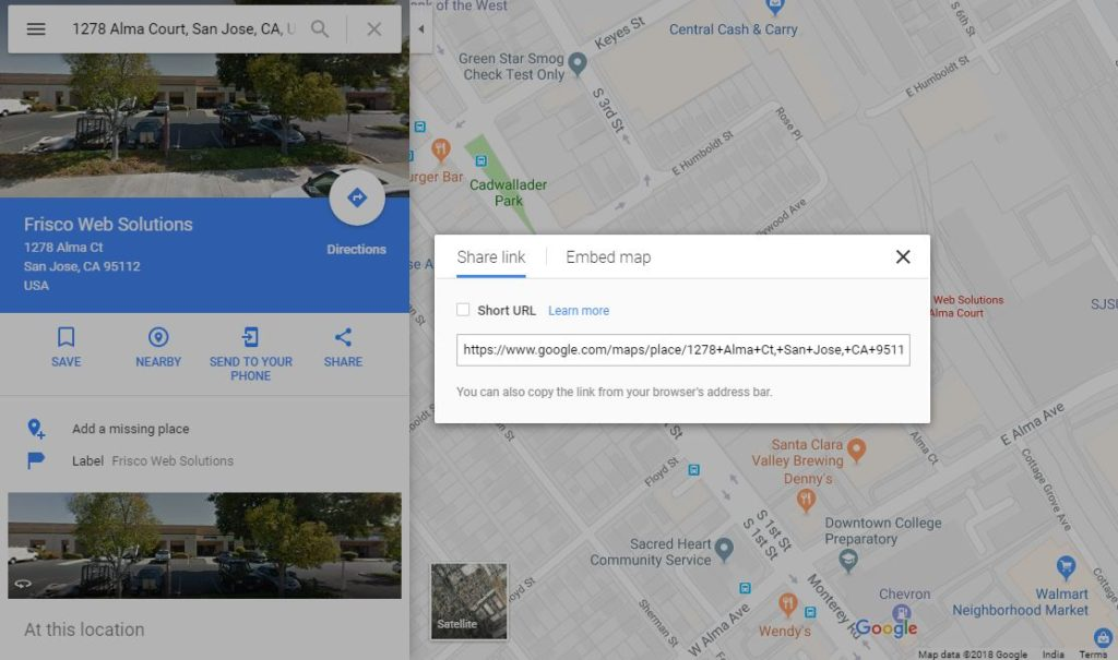 Google Map Embedding - Frisco Web Solutions